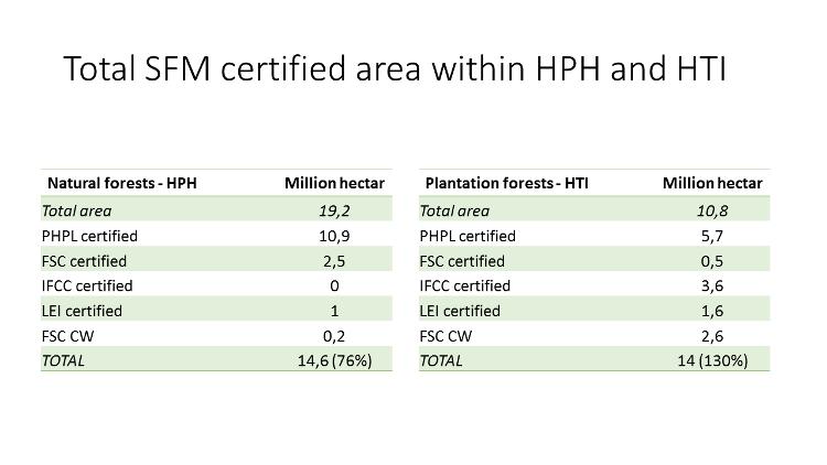 Total SFM certified area Indonesia